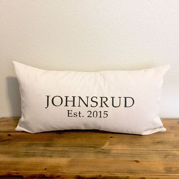 Last Name Pillow Wedding Gift Last Name Decor Last by 521handmade