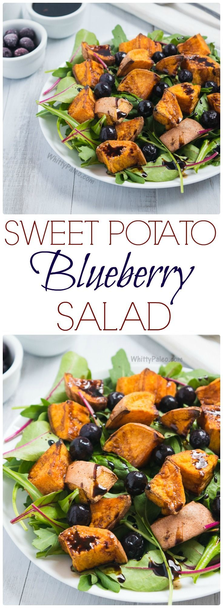 Cinnamon Roasted Sweet Potato Blueberry Salad with Balsamic Reduction from WhittyPaleo.com