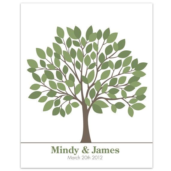 Custom Wedding Accessories Savannah Live Oak Thumbprint: Green Signature Tree