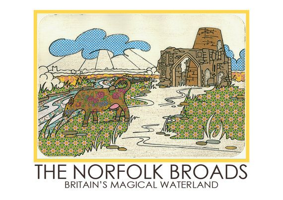 Norfolk Broads Travel Poster by AmeliaBowman on Etsy, $25.50