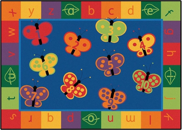 123 ABC Butterfly Fun Classroom Rug   Carpets For Kids