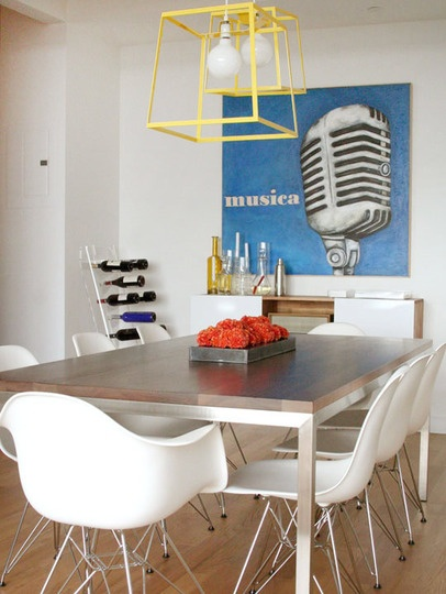 I want this dining room! I love the mix of materials and the pops of color! table with