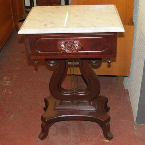 Sold Vintage Antique Marble Top Mahogany Lyre Sidetable
