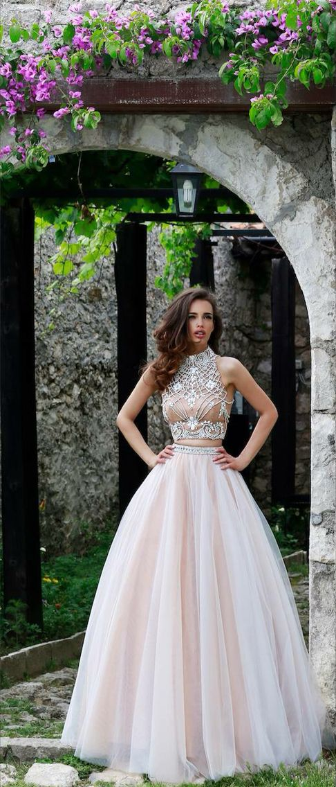 Sherri hill prom dress two piece nude ivory