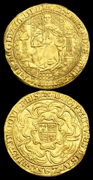 """Fine Sovereign - The fine sovereign was a large, high quality gold coin of 240 grains and was so named because the gold sovereign of 1550 represented a return to the original """"fine gold"""" standard of pre-1544 (before the debasement antics of Henry VIII). The fine sovereigns were minted at 23 carats and 3.5 grains of gold to 0.5 grain of alloy [3] - a purity of 191/192 or .9947917 (i.e. 995)."""