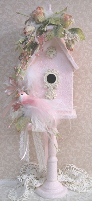 Shabby chic birdhouse beautiful pastel pink  A must do project that'll be fun and totally worth the time