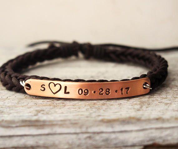 Anniversary gift for Girlfriend, Personalized Girlfriend braided leather bracelet Boyfriend girlfriend bracelets, Personalized gift for her