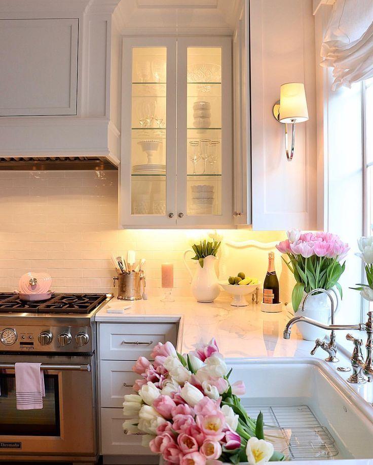 White And Floral Kitchen Decor Romantic Kitchen Kitchen Remodel Cost Kitchen Remodel