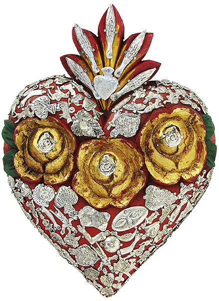 Large Carved wood Red Heart with many Silver Milagros