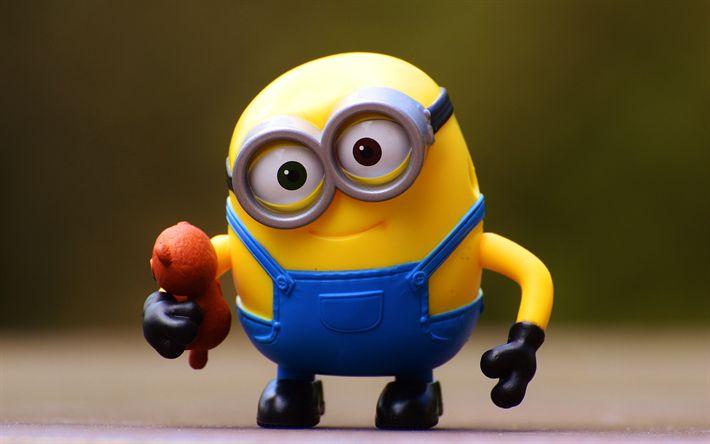 Hämta bilder Minion, 4k, leksaker, Favoriter, Dumma Mig, 3d-animation