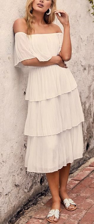 e03d3c1f5915 Gala Ready White Off-the-Shoulder Ruffle Midi Dress