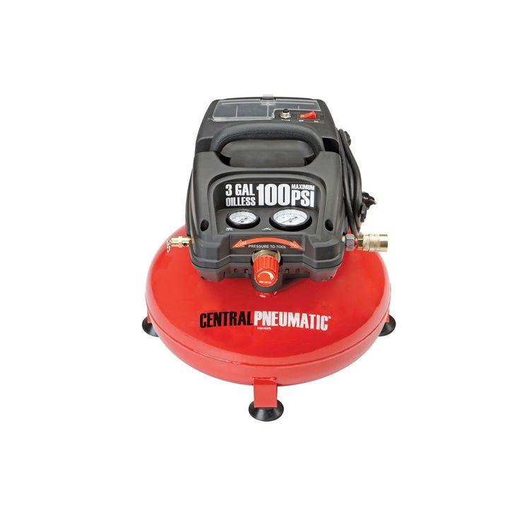 Central Pneumatic 95275 Pancake Air Compressor, Oilless 1/3 Horsepower, 3 Gallon, 100 PSI $59.99