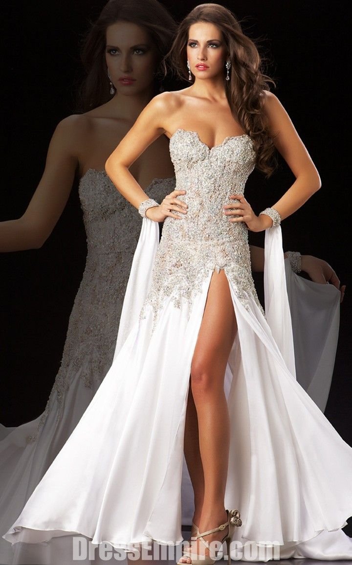 White diamond prom dress mac duggal wedding dressses formal dresses