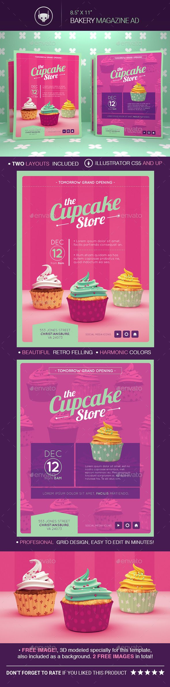 Vintage Bakery Magazine Advertising Templates - Restaurant Flyers