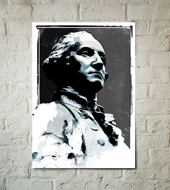 George Washington, American, President, Americana, Illustration, Art Print, Poster size, United States, Classroom Decor, Presidential art
