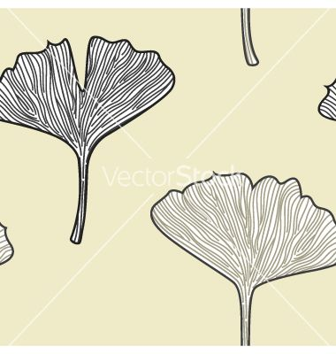 Ginkgo seamless interior wallpaper in retro style vector by lordalea on VectorStock®