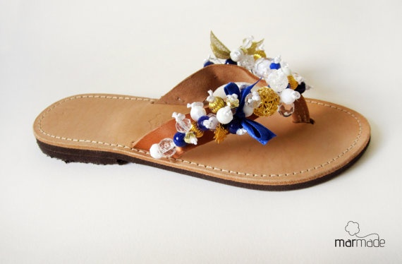 Leather handmade flip flop with Gold and Blue beads by MyMarmade, €46.00