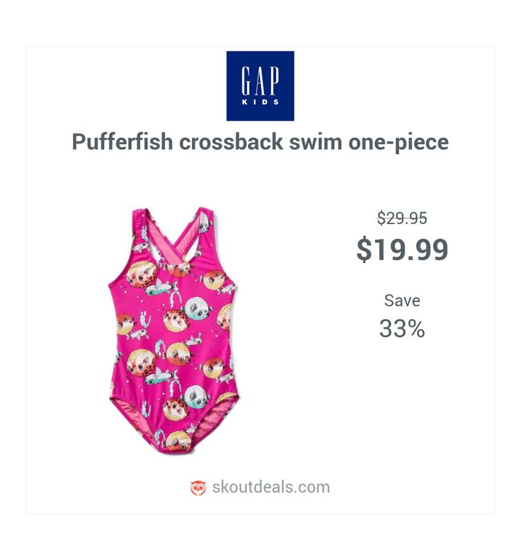Tank straps crisscross at back. Scoop neckline. Elasticized leg openings. Allover pufferfish print. Fully lined. UPF 40+ protects skin from the sun. #swim #summer