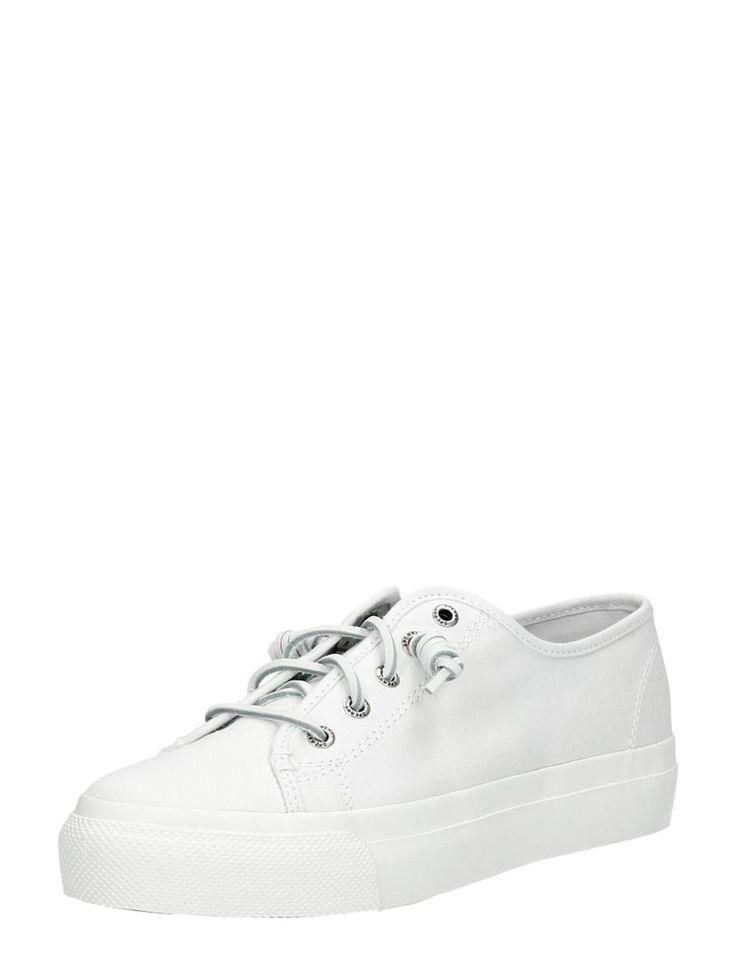 Sperry Sky Sail Canvas witte bootschoenen met krul veters voor dames - wit