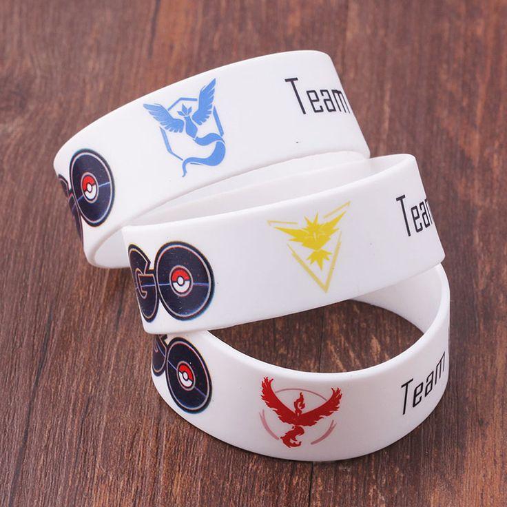 Hot Pokemon Silicone Wristband Bracelet Pokemon Go Team Mystic Valor Instinct  Unisex Bracelets & Bangles Rubber Bracelets
