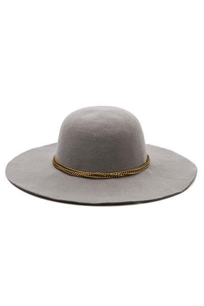 Take your hat game to new heights with the DiCarlo Hat. The always coveted wide brim shape gets a touch of bling with shiny gold chain detailing. The combo makes accessorizing a snap! Dimensions: Meas