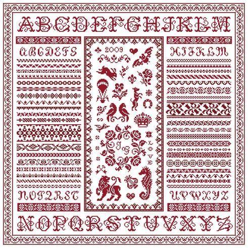 Marquoir Multifrises- Marquoir rouge au point de croix de Clorami Designs. www.clorami-designs.be: