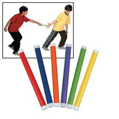 12 Relay Race Batons Kids Lightweight Plastic Assorted Colors $3.99 (save $9.00)