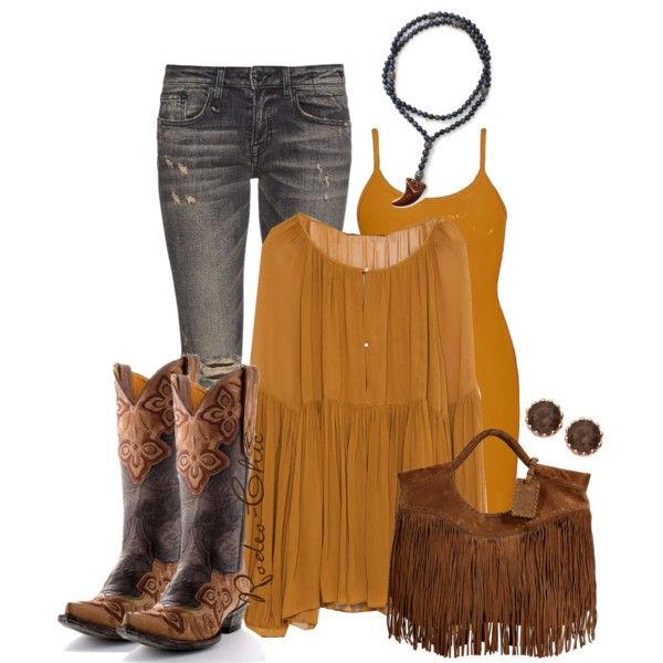 By Rodeo Chic On Polyvore Fringe Bag Cowboy Boots By Old
