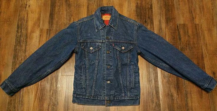 Levis Buffalo Plaid Flannel Lined Blue Jean Denim Jacket Levi Strauss Men's 34 #Levis #JeanJacket