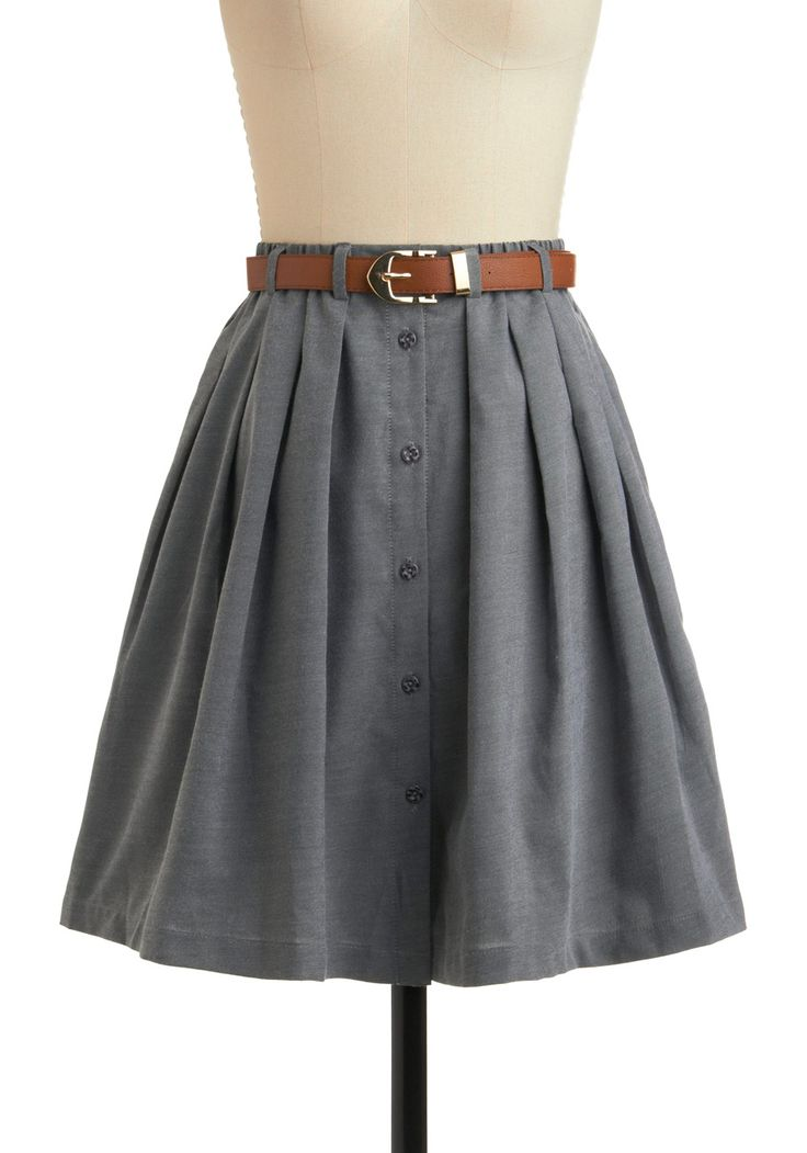 Living the Dream Skirt - Grey, Tan / Cream, Buttons, Pleats, Casual, A-line, Mid-length, Belted