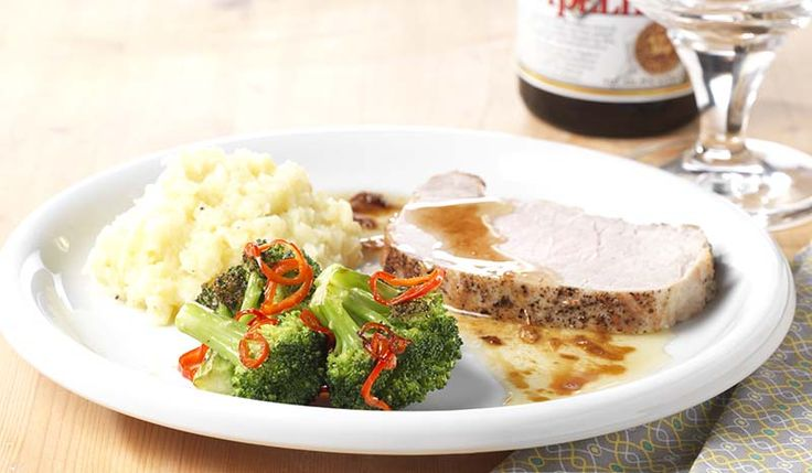 Suprême varkensgebraad met knoflookpuree en gegrilde broccoli