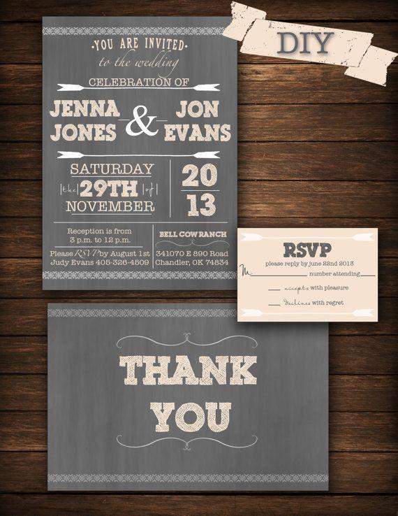 DIY Printable Wedding Invitation by on Etsy