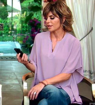 Lisa Rinna's Lavender & Blue Kimono Top's | http://www.bigblondehair.com/real-housewives/rhobh/lisa-rinnas-lavender-kimono-top/ Real Housewives of Beverly HIlls Fashion