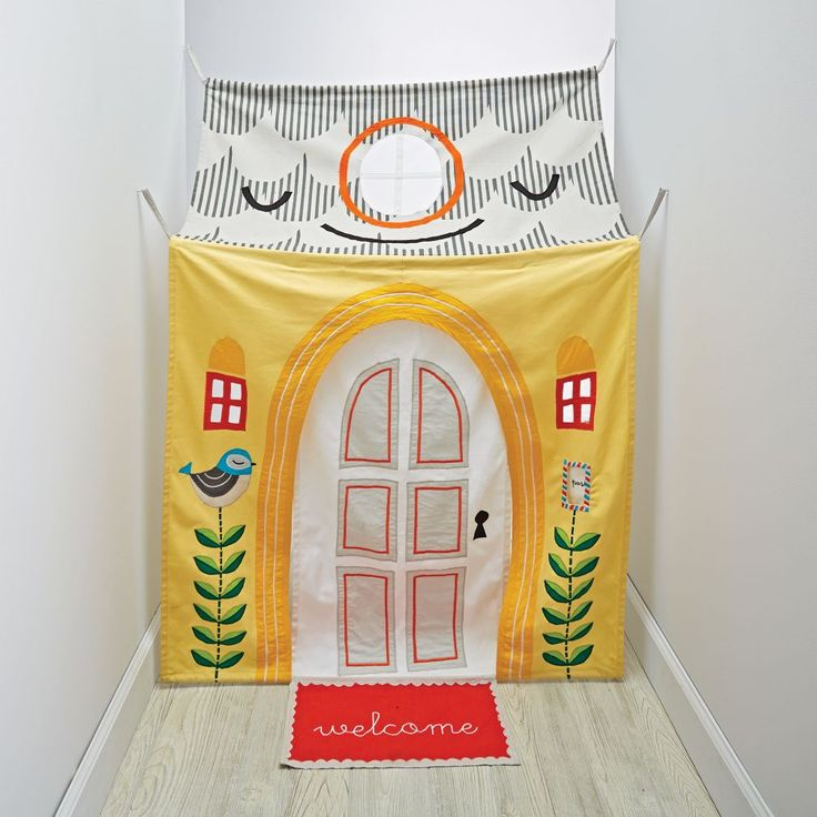 Shop Hanging Around Hallway Playhouse.  Our Hanging Around Hallway Playhouse can be easily hung on a doorway or a hallway.  It features bright and imaginative designs with a door, skylight window and welcome mat.  It's basically move-in ready.
