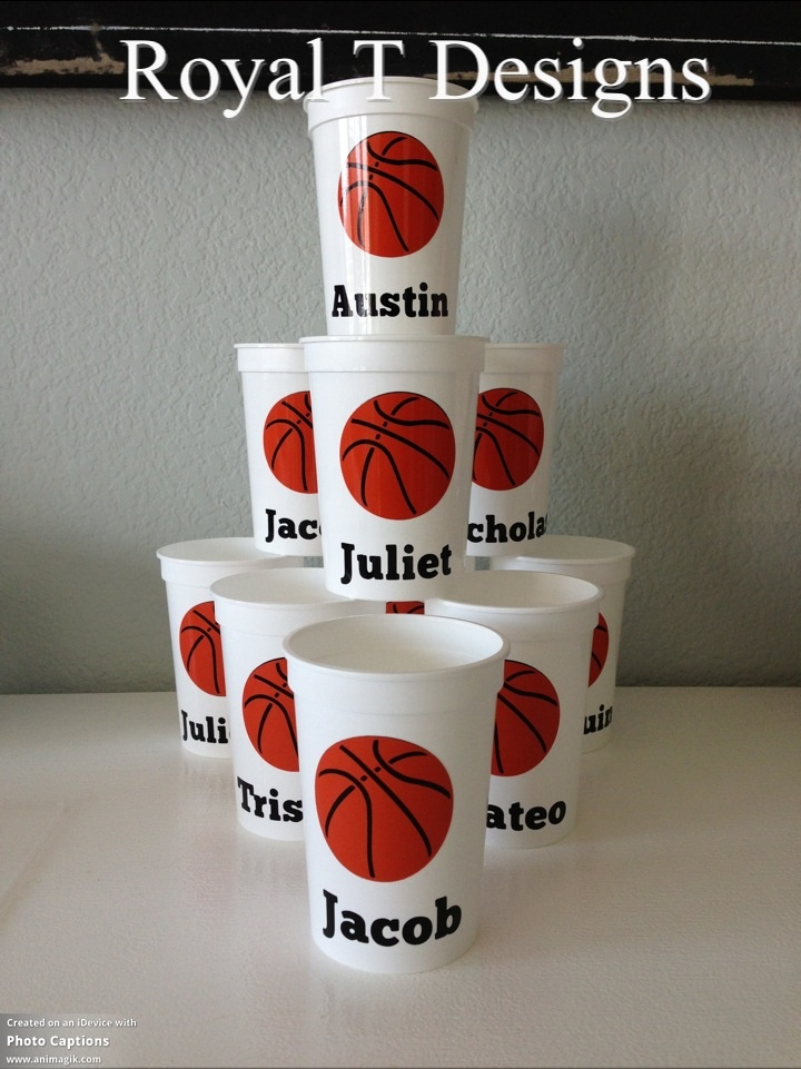 Personalized Basketball Party Favor Cups. 12oz.