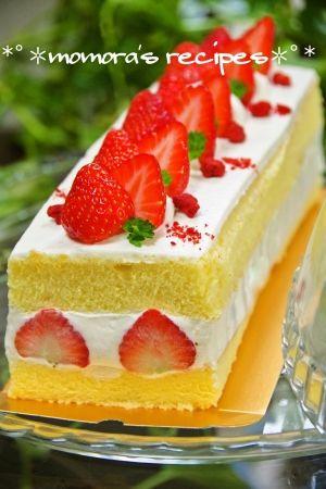 「HMで簡単♡苺のショートケーキ♪クリスマスにも」型が無くても、初めてサンにもHMで簡単に作ることが出来ます♡バター不使用ヘルシーフワフワ♬クリスマスにも是非♡【楽天レシピ】
