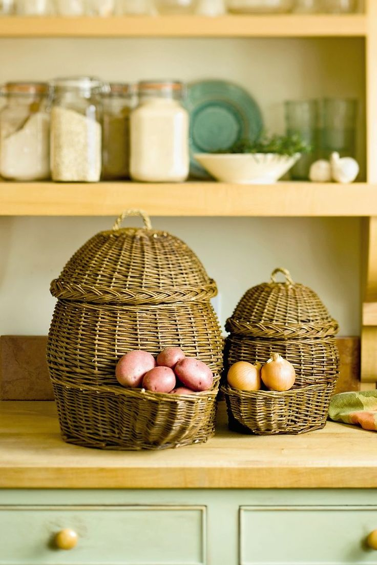 I have so many baskets used for decorations that these make me think of repurposing them! What an easy way to use bins and baskets in the home -- and what a fun DIY project to keep in mind for kitchen and veggie storage!