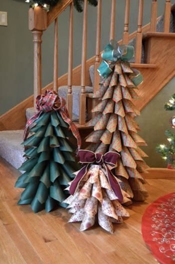 Paper Cone Christmas Tree using cones from gift wrap and paper towel rolls