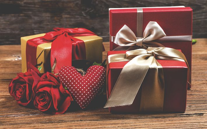 Download wallpapers Happy Valentines Day, gifts, red roses, romance, bouquet of flowers, gifts boxes