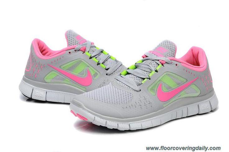 New Womens 510643-022 Grey Pink Electric Green Nike Free Run 3: Running Shoes