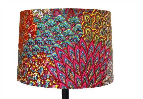 Fuchsia Peacock Slip Cover For Your Exsisting Lampshade