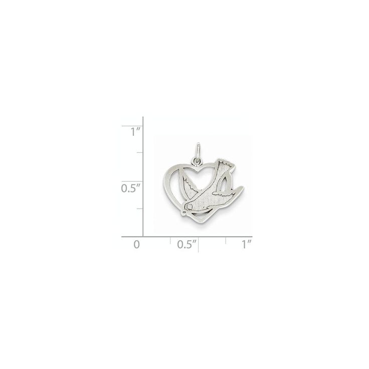 14K White Gold Peace Bird in Heart Charm Pendant