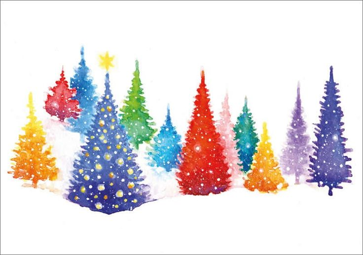 Multi Coloured Trees - Trees. Available as a charity Christmas card from Admiral Charity Cards.