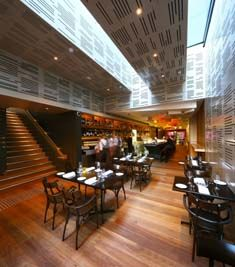 This is a restaurant located in Brisbane City designed by Justin O'Neill (Director at O'Neill Architecture) when he was a Director at Arkhefield.