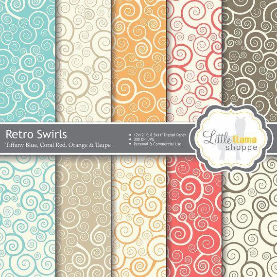 Vintage Scrapbook Paper Packs | Retro Swirls Digital Scrapbook Paper Pack 10 by LittleLlamaShoppe, $2 ...