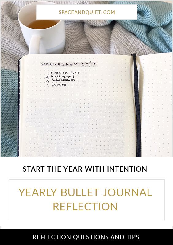 How to complete a yearly bullet journal reflection and start the new year with intention. Click through for end-of-year reflection questions and tips for starting a new notebook. #bulletjournal #bulletjournaling #bujo #bulletjournalreflection #yearlybulletjournalreflection #bulletjournalideas #bulletjournalcommunity #bulletjournaladdict #planner #plannerlovers #planning #purpose #spaceandquiet #intention