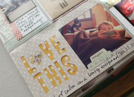 Love the cut-out words on this mini layout from Glue-Stick Girl's Project Life Week 4 layout.