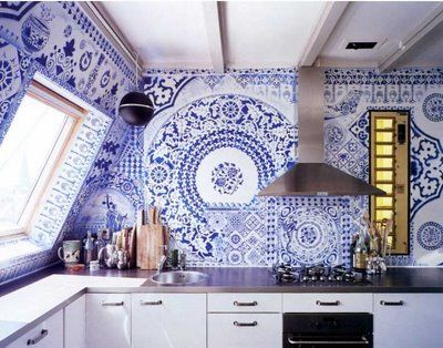 bold blue kitchen // tile wall design, white cabinets