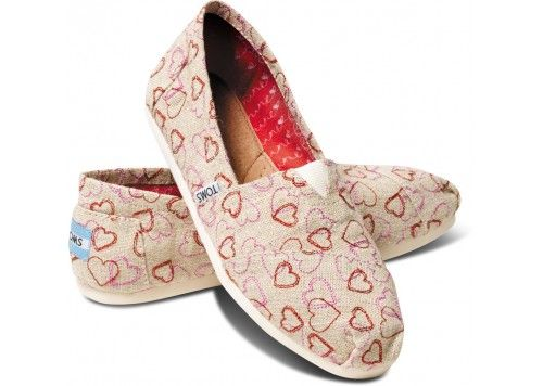 Natural Embroidered Hearts Women's Classics | TOMS.ca