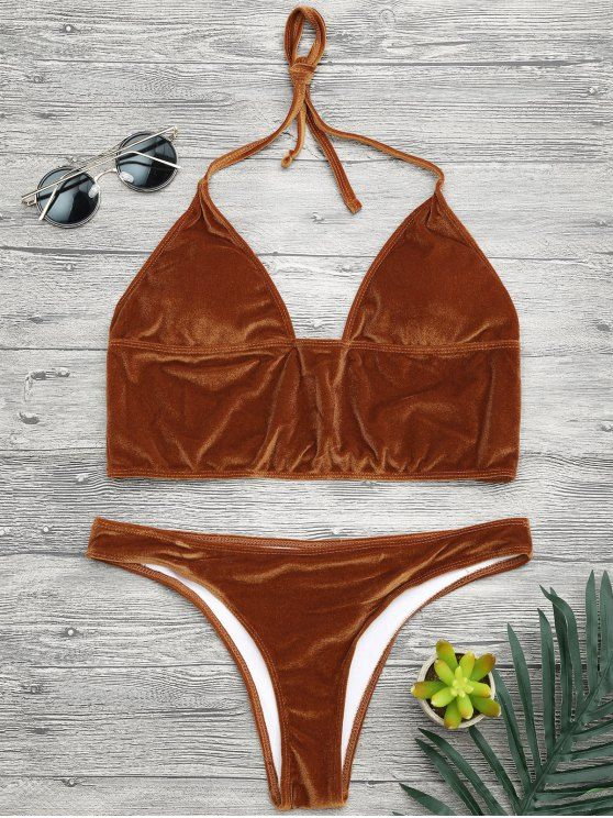 AD : Longline Bikini Top and High Leg Bottoms - GOLD BROWN   Shimmer velvet bathing suit features midi halter bikini top and high cut swim bottoms, padded.  Swimwear Type: Bikini   Gender: For Women   Material: Nylon,Polyester,Spandex   Bra Style: Padded   Support Type: Wire Free   Collar-line: Halter   Pattern Type: Solid   Waist: Low Waisted   Elasticity: Elastic   Weight: 0.2000kg   Package: 1 x Top 1 x Bottoms